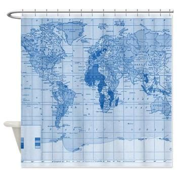 World map shower curtain blue monochrome world map by mapology world map shower curtain blue monochrome world map by mapology blue bathroom decornautical gumiabroncs Image collections