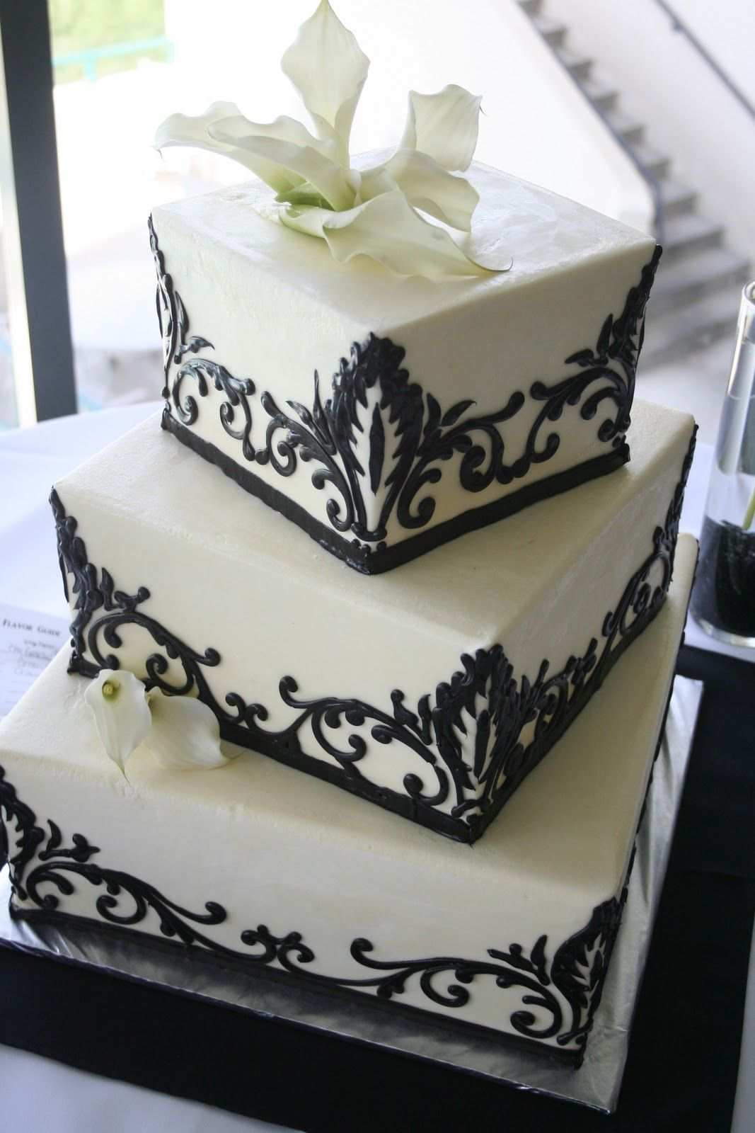 square black and white wedding cakes pictures%0A Pretty  Black and White Damaske Wedding Cake
