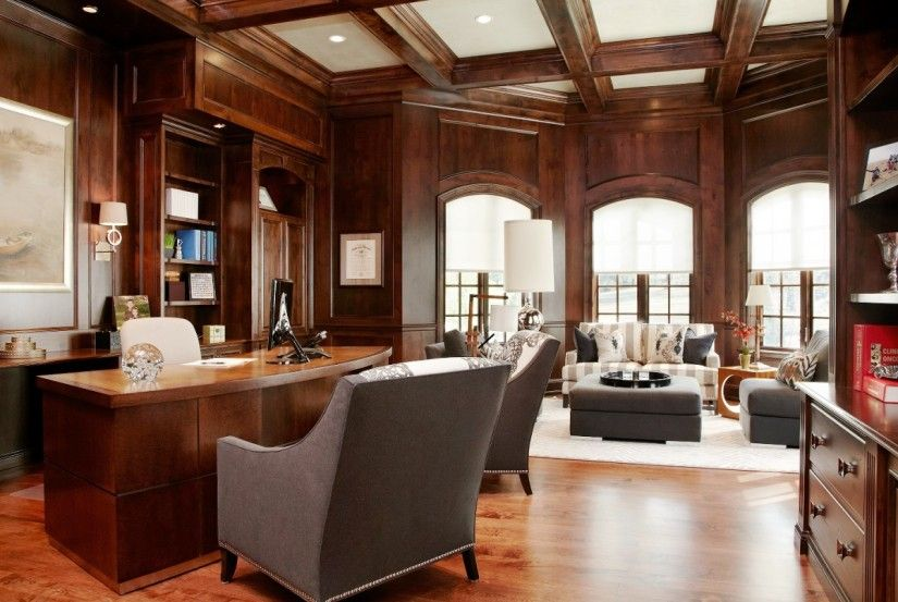 Home Office Decorating Ideas For Men Part - 49: Interior Design Stylish Masculine Home Office Decor Ideas With Luxurious  Modern Furnitures And Beautiful Wool Carpet
