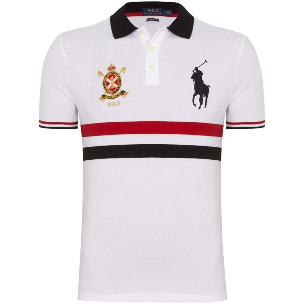 Polo Ralph Lauren Mens Genuine New White Red Custom Slim Fit Mesh Polo Shirts Polo Ralph Lauren Polo Polo Ralph Lauren Mens
