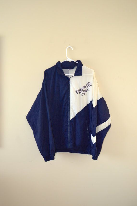 6b38d4c98ada5 80's Design REEBOK Blue and White Windbreaker - Large | Clothing and ...