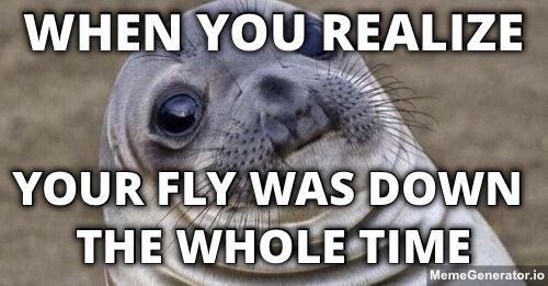 86e8190c6841bdf611438fc8c064426c your fly was down awkward seal moments pinterest mem och,Fly Down Meme