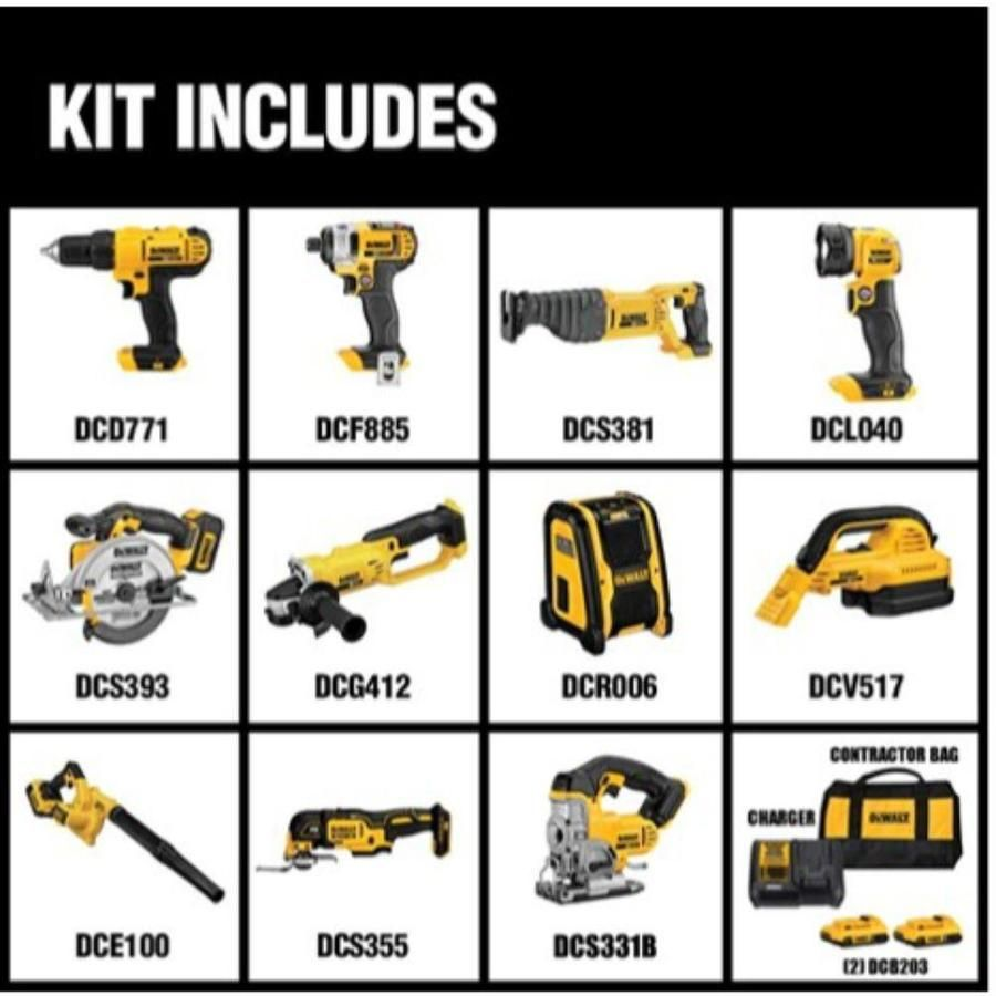 20 Volt Max Lithium Ion Cordless Combo Kit 10 Tool 2 2ah Batterie Fugidw In 2020 Dewalt Power Tools Combo Kit Dewalt