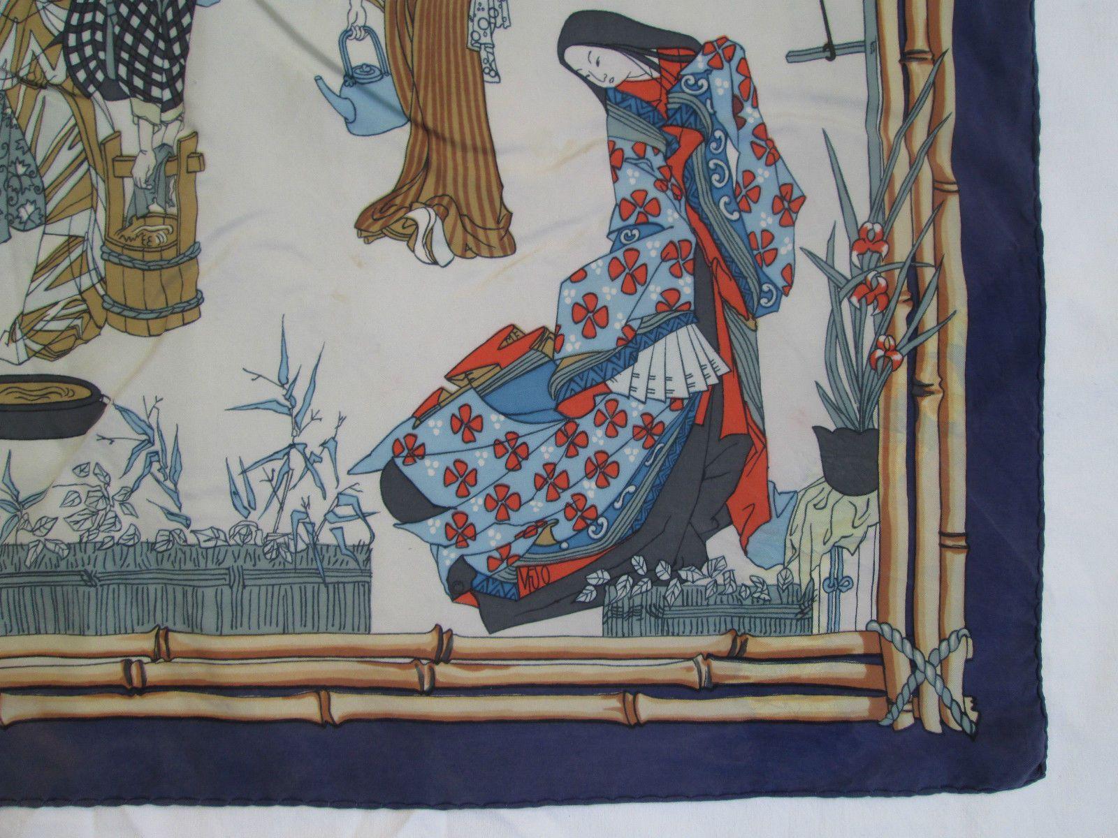 Superbe Foulard Carré Hermès Geisha 1 Seule Édition 1966 Soie BEG Vintage    eBay 3281109b06d