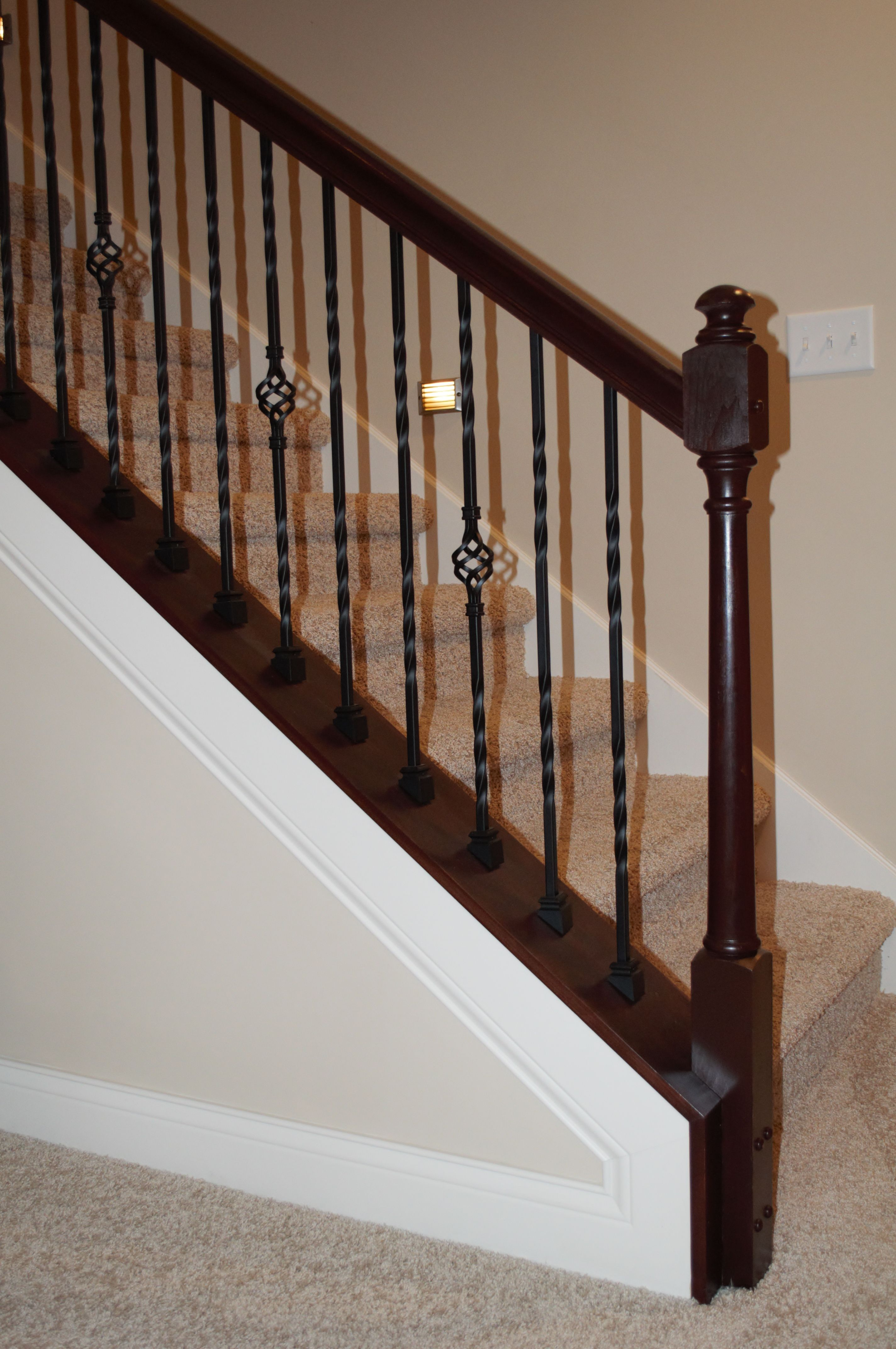 Best Wrought Iron Stairs Posts With Stained Wood Railing And 640 x 480