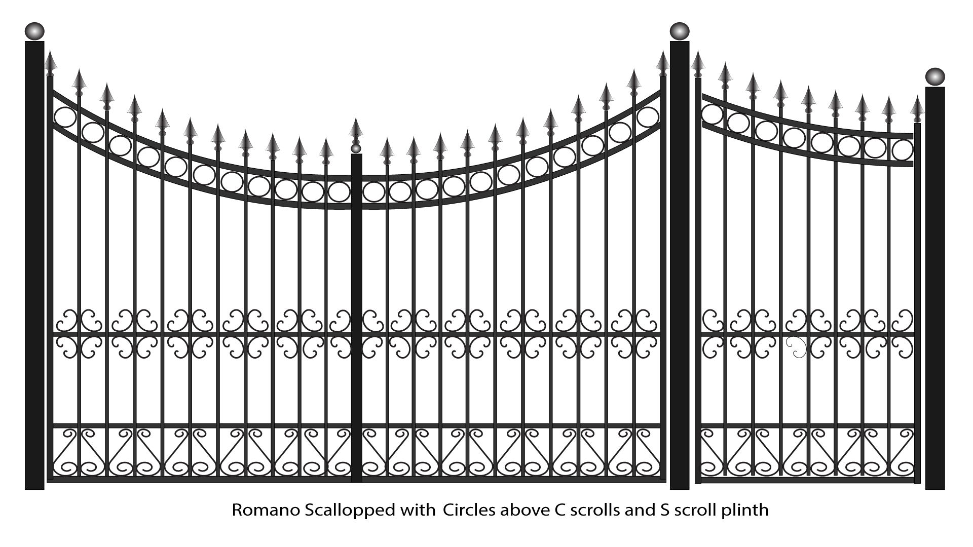 Romano Scallopped Gates With Circles And C Scrolls Above Scroll Plinth Png 1 920 1 080 Pixels Iron Gates Wrought Iron Gates Steel Gate Design
