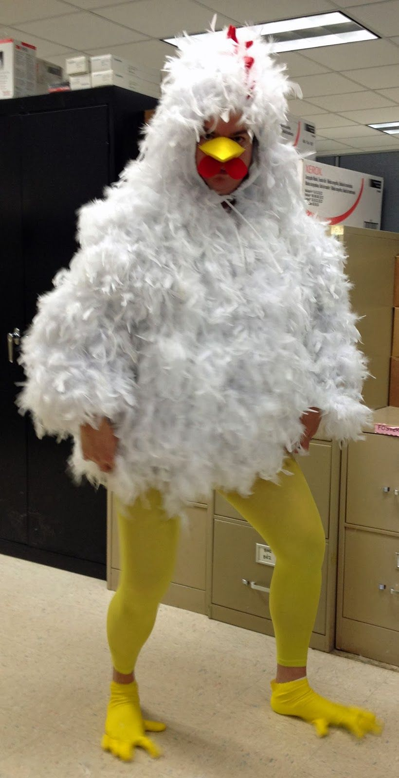 DIY Chicken costume I made just surfing the web how to s   putting them all  together. It was a big hit. Till today after a year feathers exist. 513ead327de