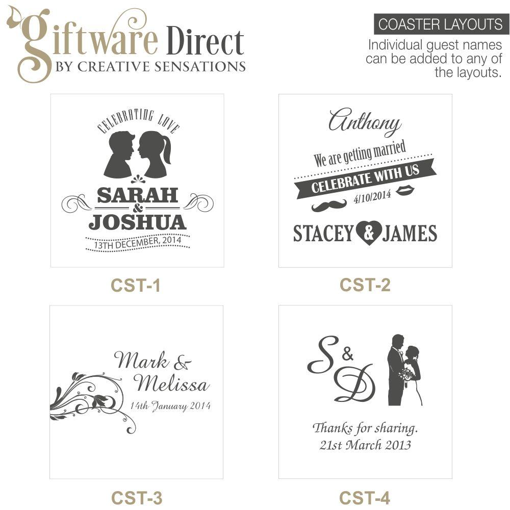 Engraved Glass Coasters Wedding Favours | Wedding coasters, Wedding ...