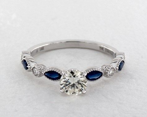 14K White Gold Vintage Round Diamond and Marquise Sapphire Engagement Ring