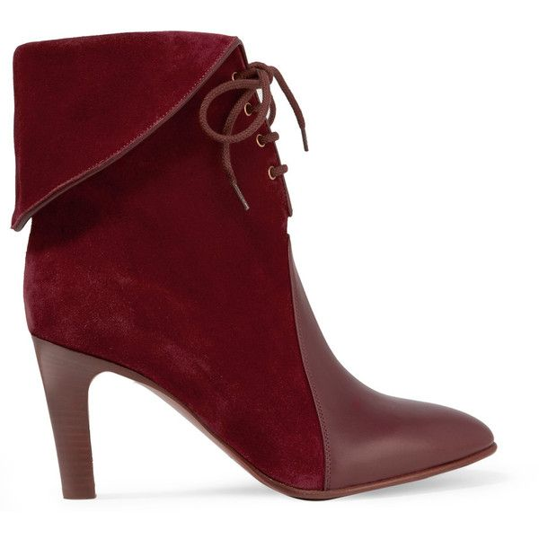 Chloé Chloé - Leather-paneled Suede Ankle Boots - Burgundy ($500) via Polyvore featuring shoes, boots, ankle booties, booties, ankle boots, short leather boots, short suede boots, leather boots, burgundy ankle boots and suede bootie