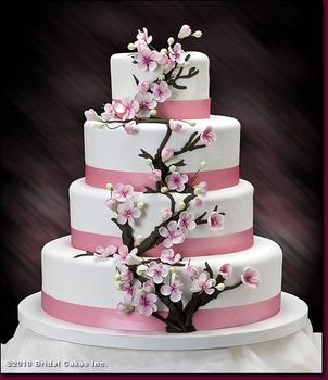 Possible Wedding Cake And Green Ribbon Instead Of Pink With