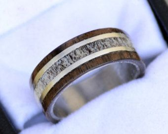 Mens Wedding Band Dark Walnut and Natural Shed Elk Antler inlay