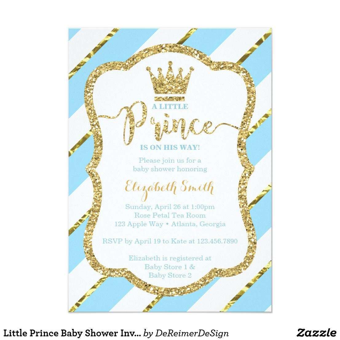 Little Prince Baby Shower Invite Faux Glitter Card | Baby Shower ...