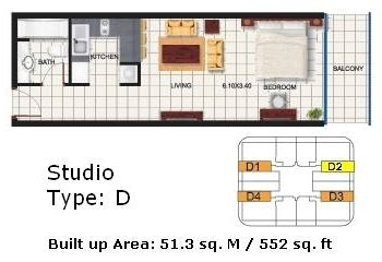 Studio Apartments Floor Plans efficiency apartment | dubai oasis tower 2 studio apartment floor