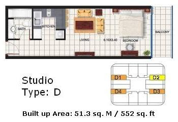 Efficiency Apartment Dubai Oasis Tower Studio Apartment Floor
