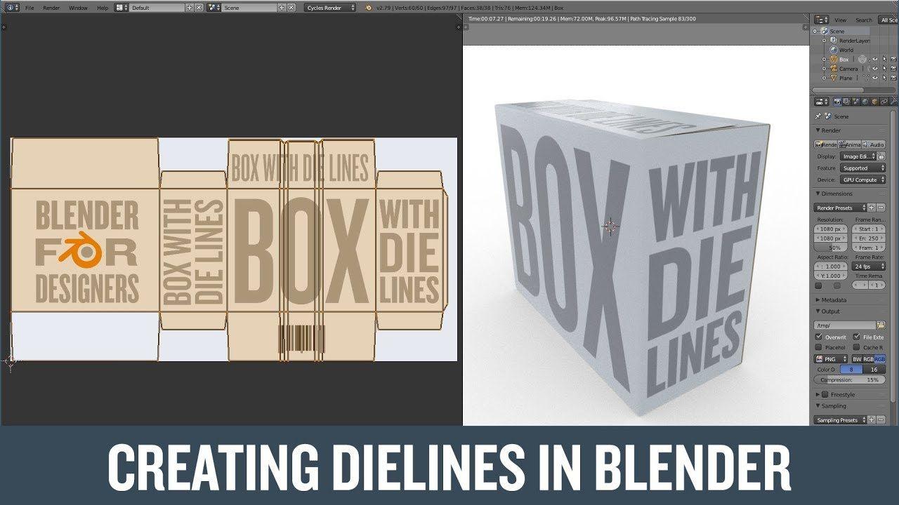 Download Creating Dielines For A Box In Blender Youtube Blender Tutorial Blender 3d Blender