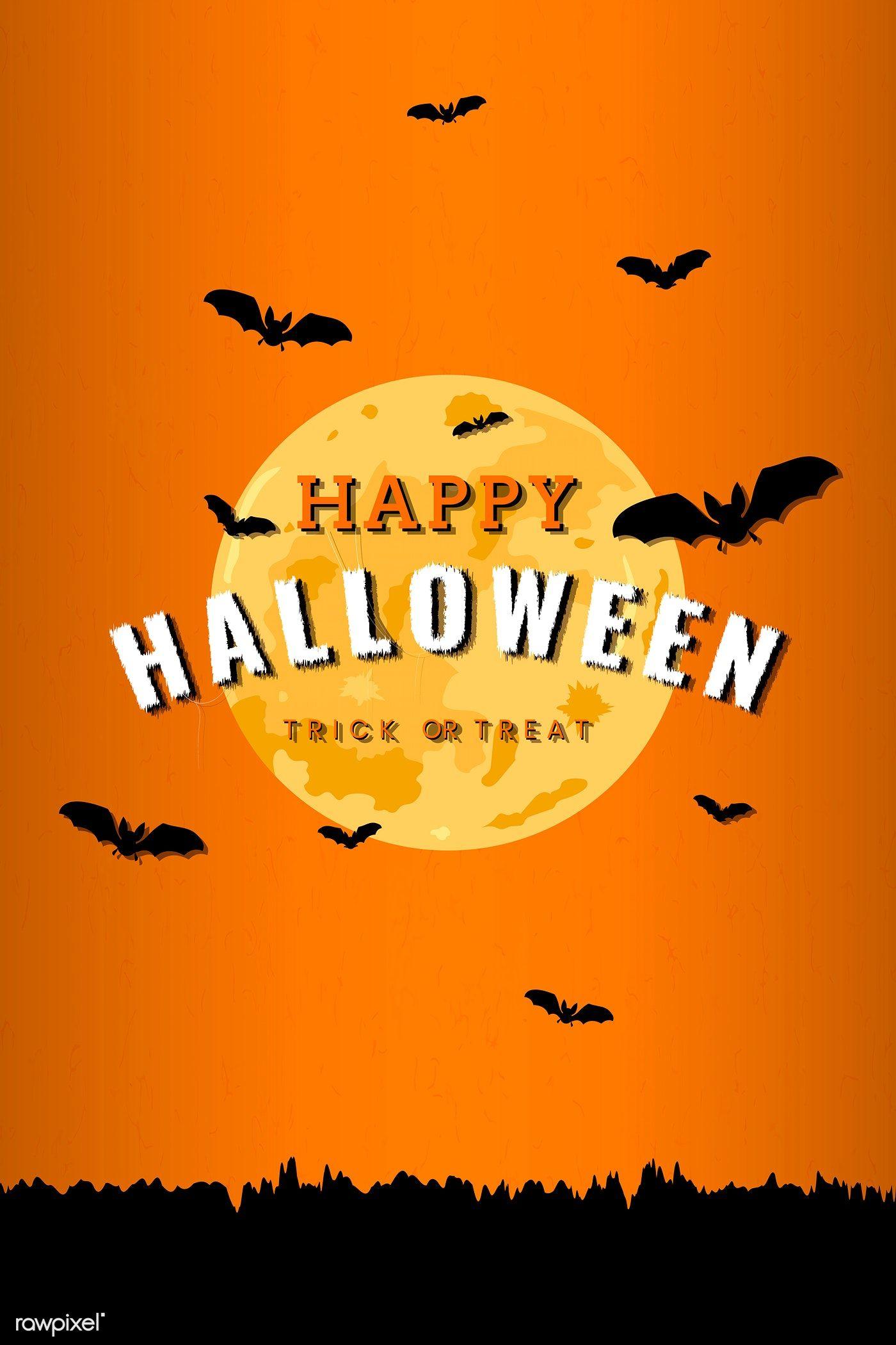 Full moon pattern on orange Halloween background vector