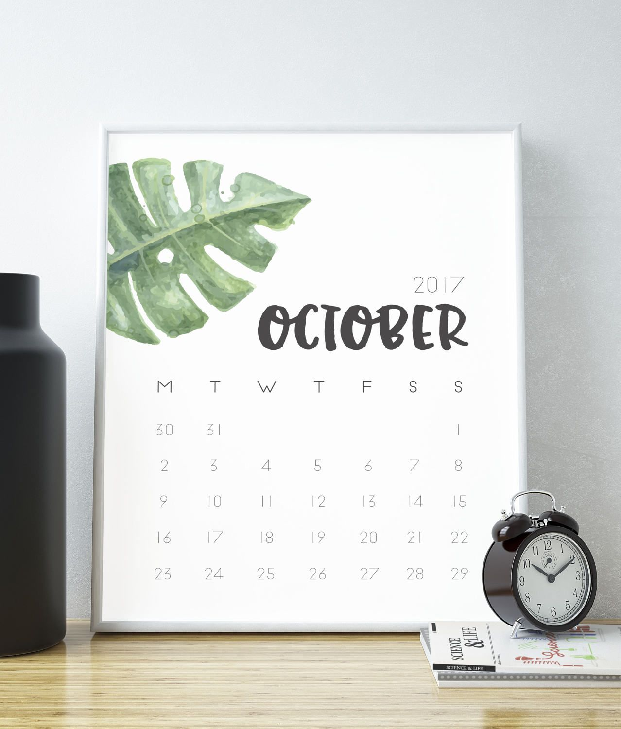 Minimalist Calendar Design : October calendar printable month planner