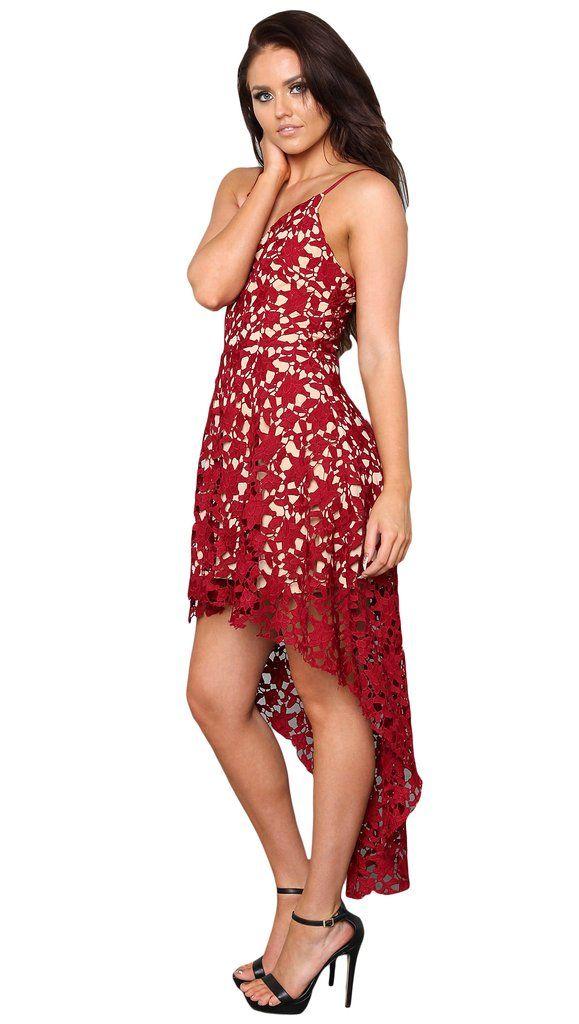 90d0baf738 Date Red Hollow Floral Lace Trim Asymmetric Spaghetti Strap Dress ...