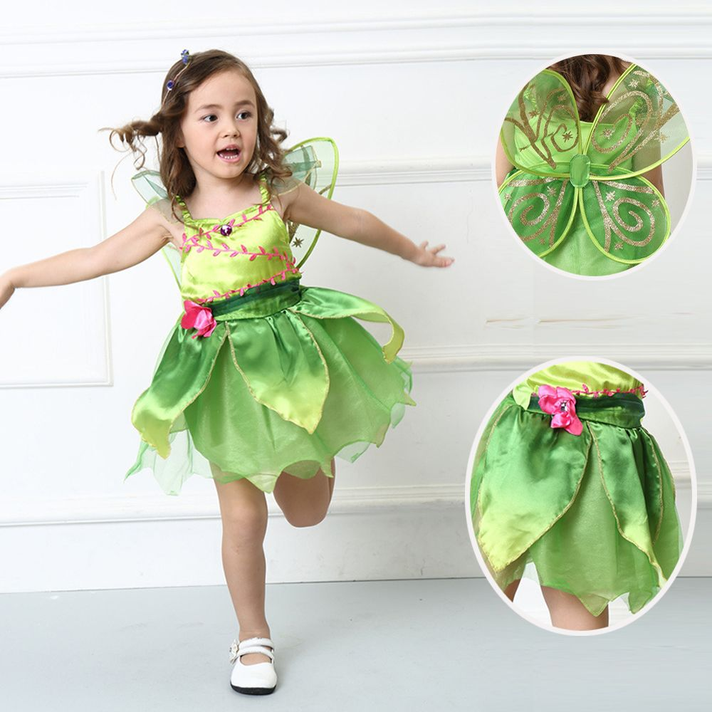 Tinkerbell Princess Woodland Fairy Dress Halloween Cosplay Costume For Kids Fairy Girls Green Dress Halloween Costumes For Girls Tinkerbell Dress Girl Costumes [ 1000 x 1000 Pixel ]