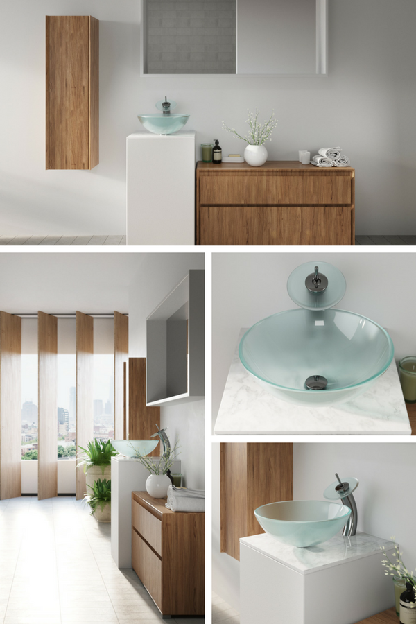 Modern Chic Bathroom With Gl Vessel Sink And Panel Blinds Constructed To Be Bold