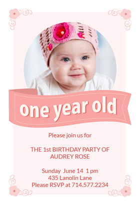 1 Year Birthday Pink Ribbon Printable Invitation Template Customize Add Text And Photos Print Download