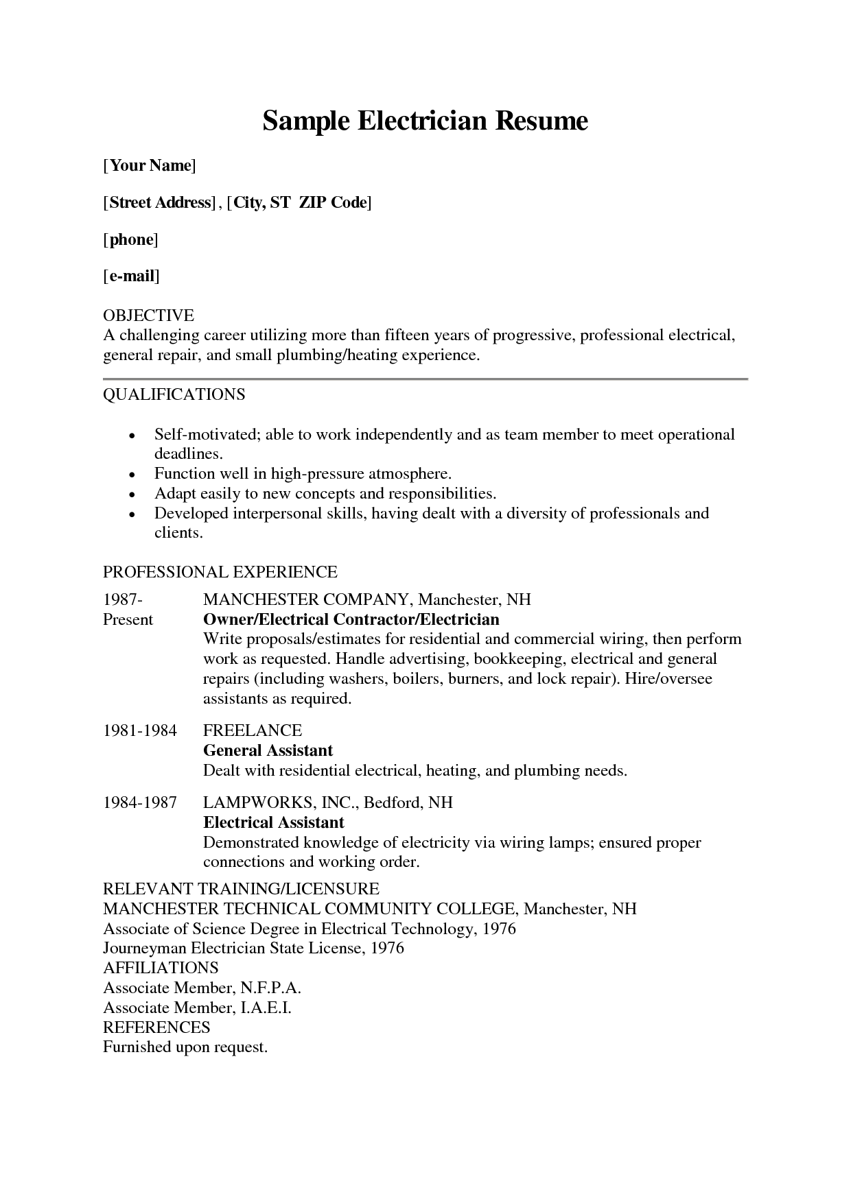 Electrician Resume Apprentice Sample Resumes Gift Certificate Template Microsoft Word