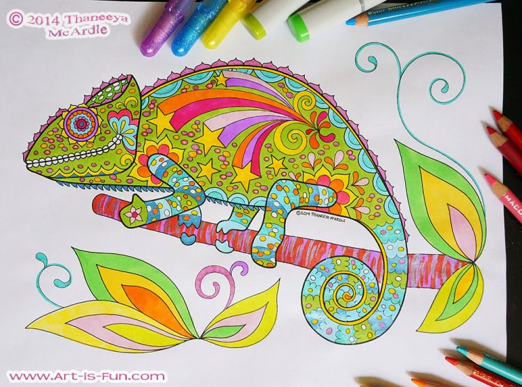 Colorful Chameleon From Thaneeya McArdles E Book Of Printable Groovy Animals Coloring Pages