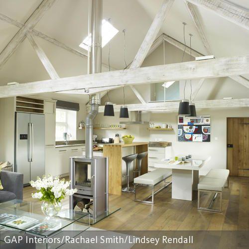 Dachbalken weiß streichen Dachbalken, Wohnraum und Skandinavisch
