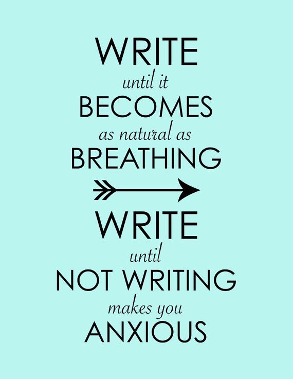 Write Until It Becomes As Natural As Breathing... Inspirational Print, Motivational Writing Poster, Mint Arrow Typography, Office Decor Art