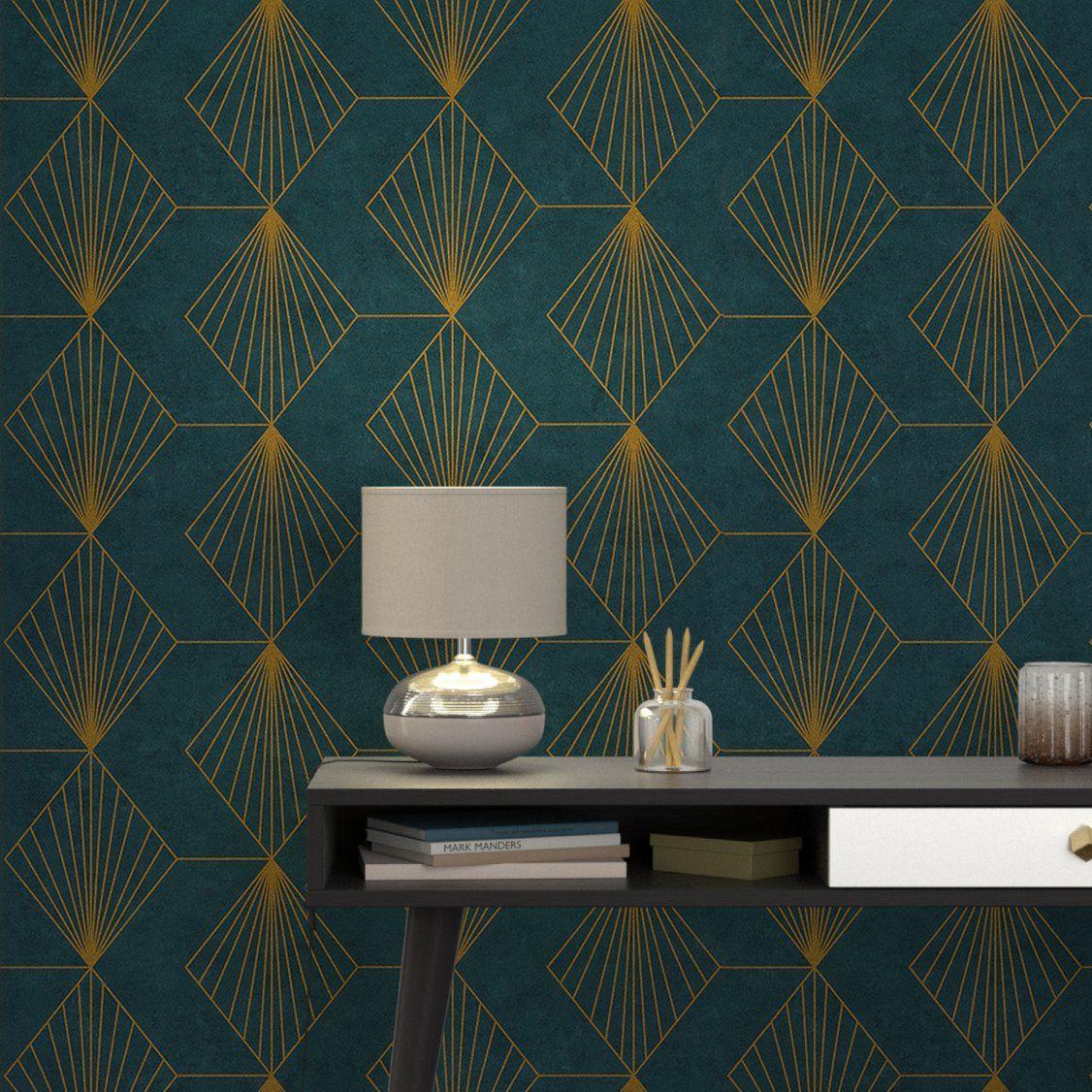 papier peint intiss gatsby coloris bleu paon deco co. Black Bedroom Furniture Sets. Home Design Ideas