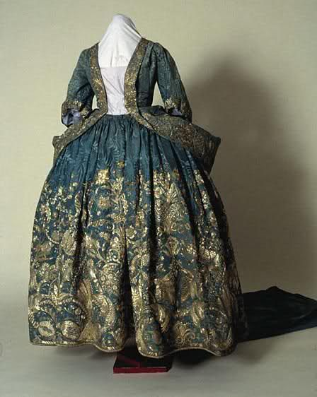 Blue and gold brocade mantua (front), English, c. 1730-40. Tredgar House.