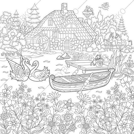 Adult Coloring Pages. Rural Landscape. Zentangle Doodle ...