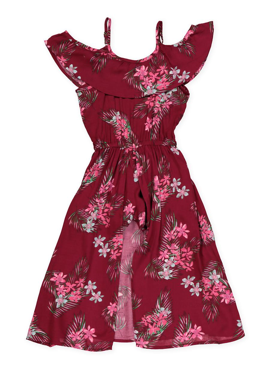 c1a23c8faa8 Girls 7-16 Floral Ruffle Maxi Romper - Burgundy - Size 12