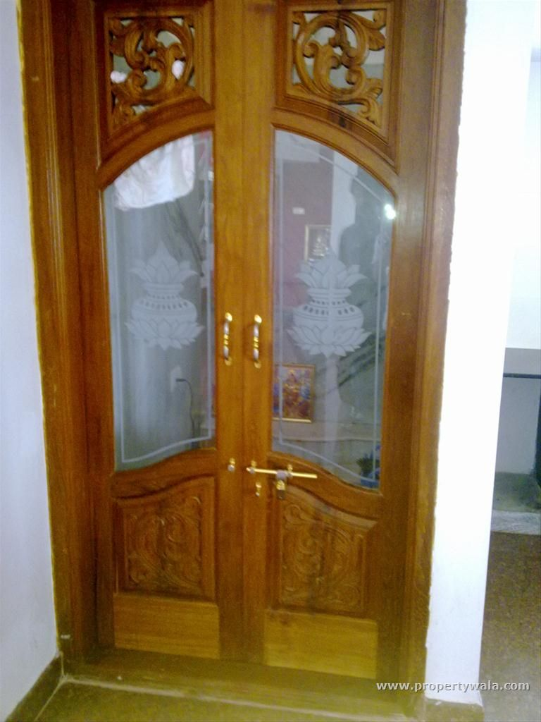 Wood door with glass for pooja room google search for Simple room door design