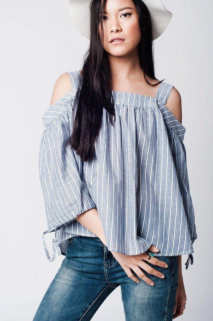 66f6bf6ae58 Grey Cold Shoulder Shirt In Stripe | Designs for Liz | Cold shoulder ...