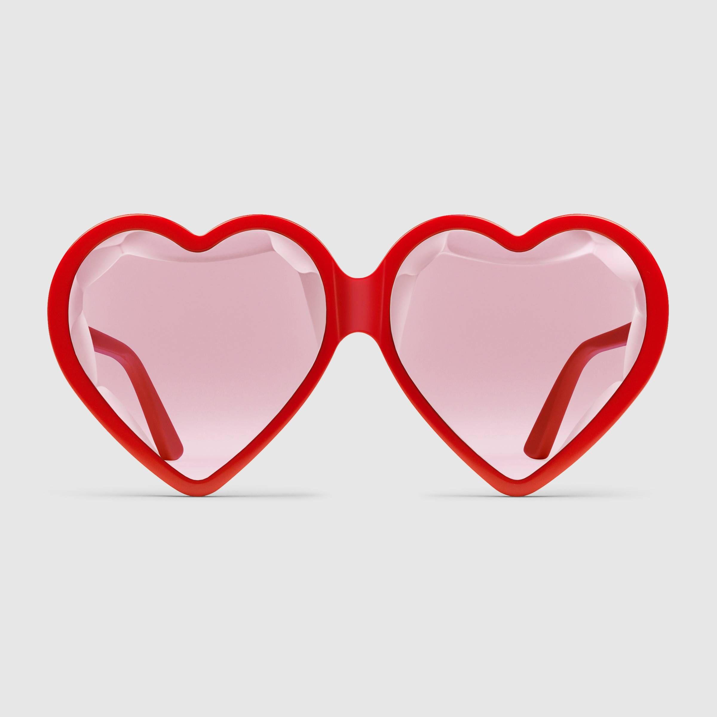 568fb8876de Gafas de sol de acetato en forma de corazón con ajuste especial - Gucci  Gafas de