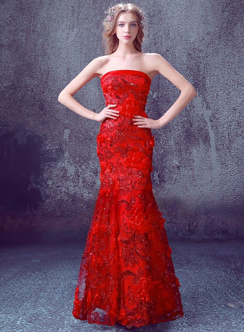 Elegant Red Lace Sequins Appliques Strapless Chinese Wedding Dress ...