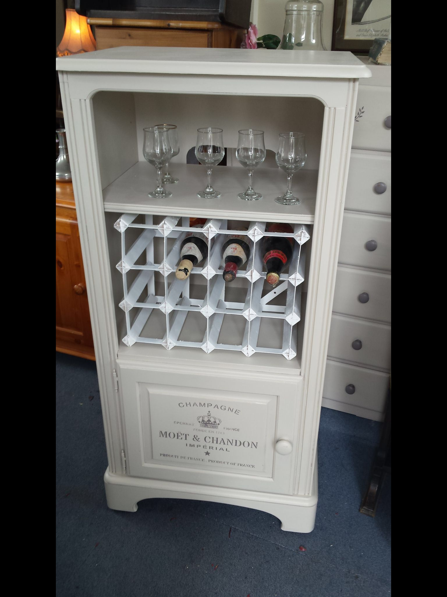upcycled drinks cabinet from hifi stereo unit from vintage locket