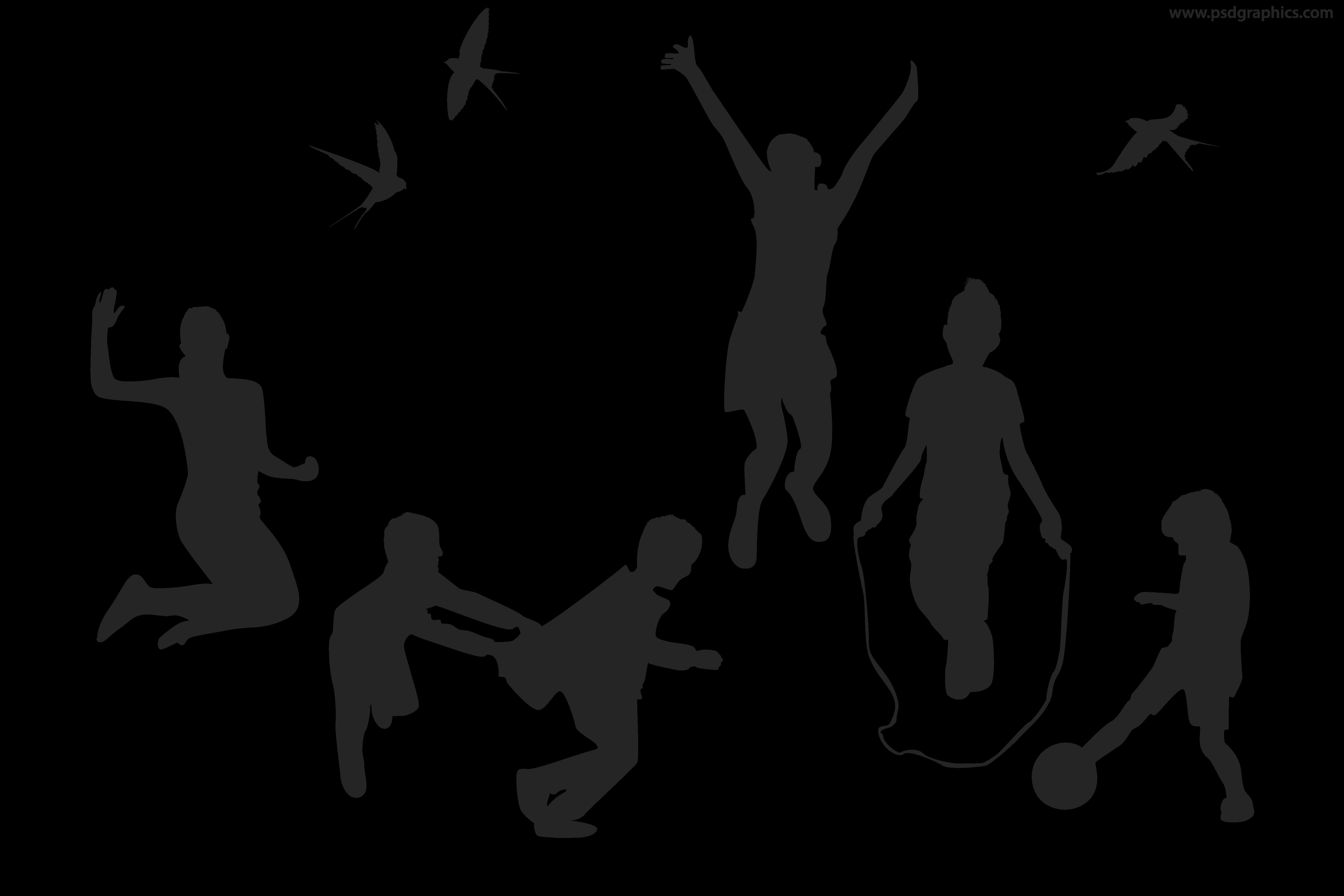 Playful Children Vector Silhouettes