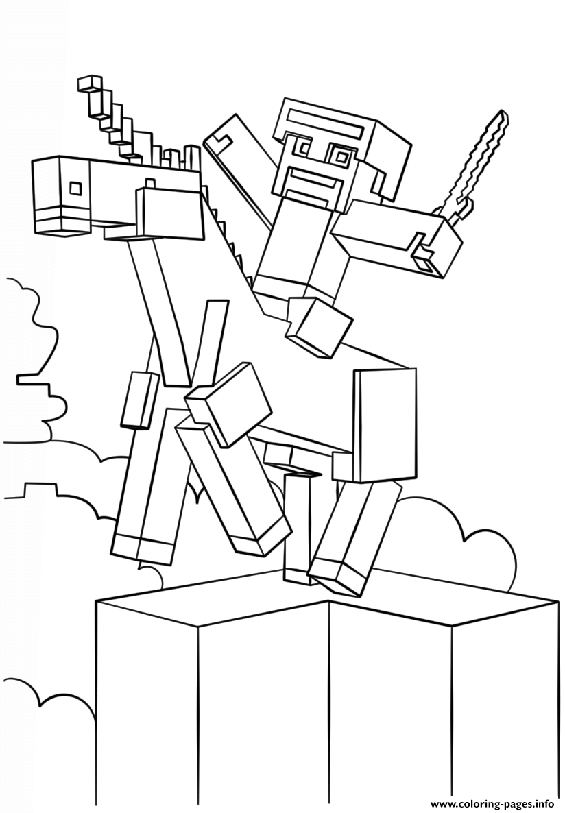 print minecraft unicorn coloring pages