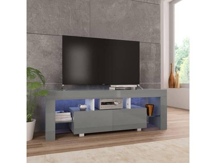 Vidaxl Tv Schrank Mit Led Leuchten Hochglanz Grau 130 X 35 X 45 Cm