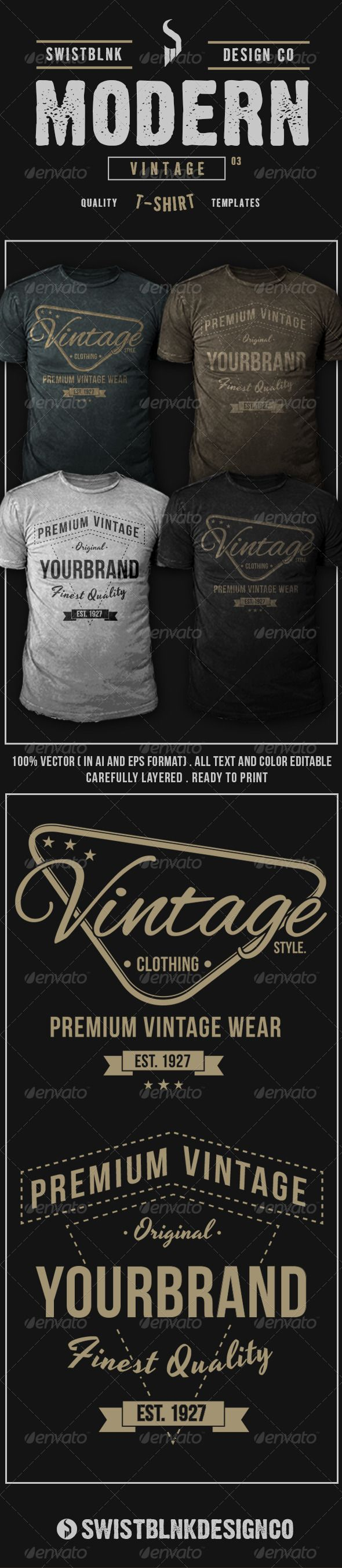 Modern Vintage T-Shirt Template Vector EPS, AI. Download here: http://graphicriver.net/item/modern-vintage-tshirt-03/6655954?ref=ksioks
