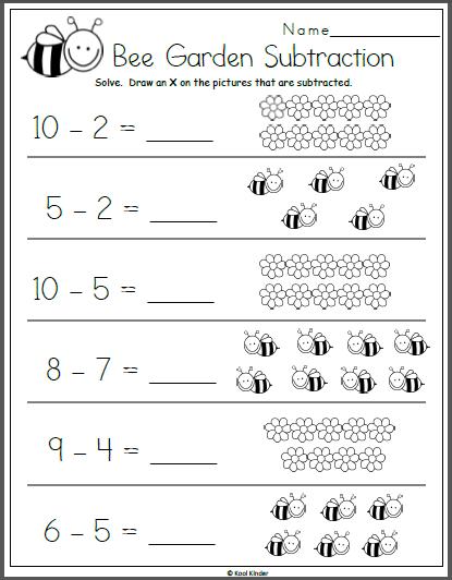 Bee Garden Subtraction Math Worksheet For Kindergarten Kindergarten Subtraction Worksheets Kindergarten Math Worksheets Free Preschool Math Worksheets