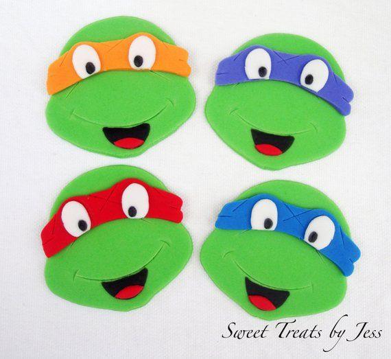 Set Of 12 Teenage Mutant Ninja Turtle Tmnt Fondant Edible Etsy Ninja Turtle Cupcakes Teenage Mutant Ninja Turtle Ninja Turtles