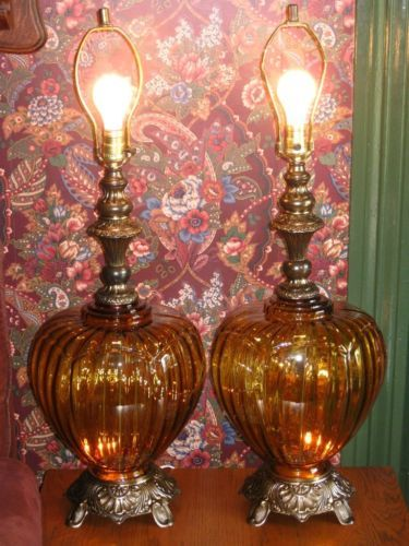 2 Large Vintage 1960 S Amber Blown Art Glass Table Lamps 3