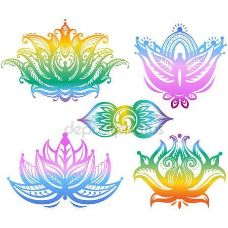 Set of ornamental colorful lotus flowers aia graphics mandalas set of ornamental colorful lotus flowers mightylinksfo