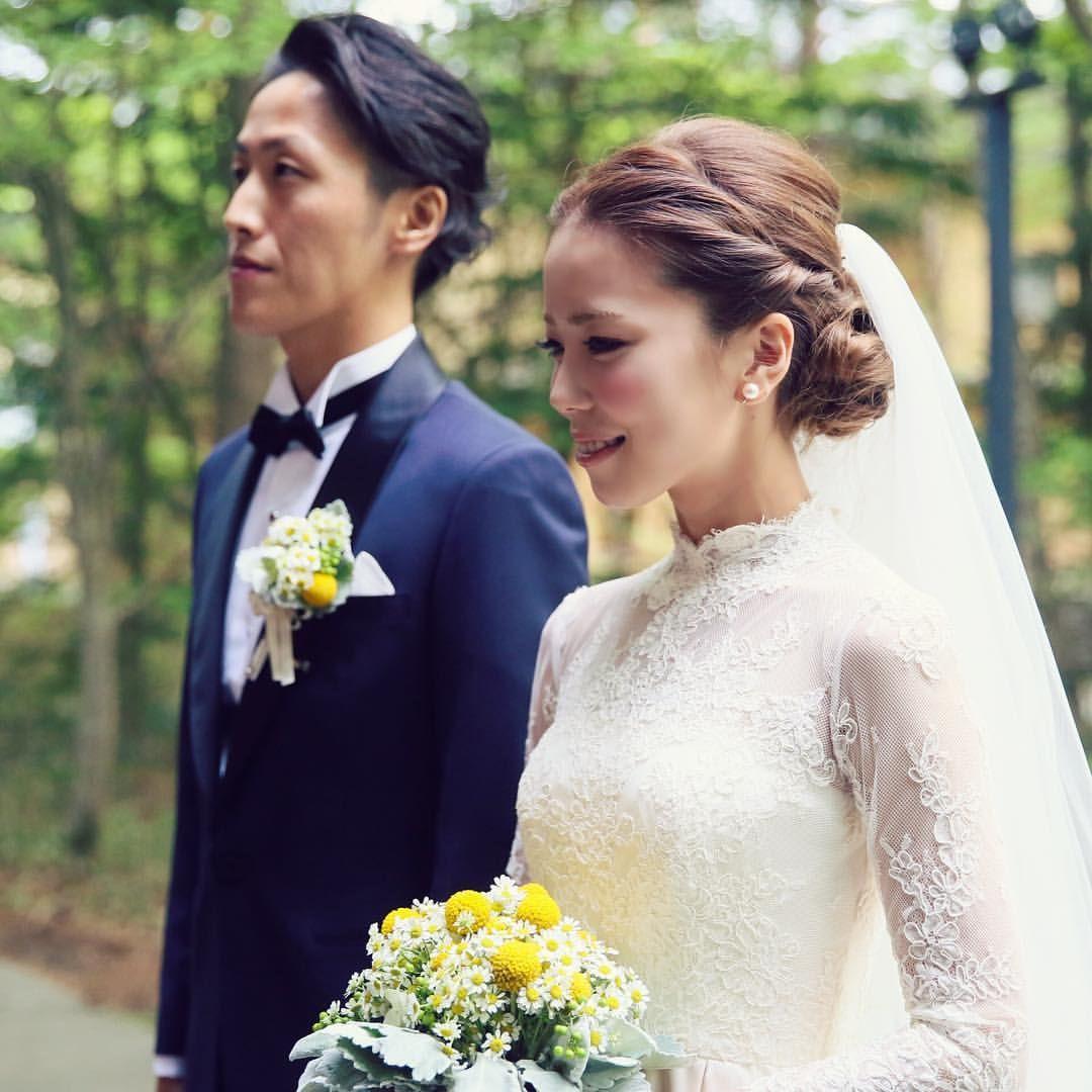 軽井沢高原教会結婚式 軽井沢高原教会挙式 クラシカルウェディングドレス