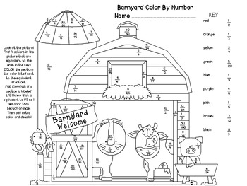 Equivalent Fractions Color By Number Barn With Images