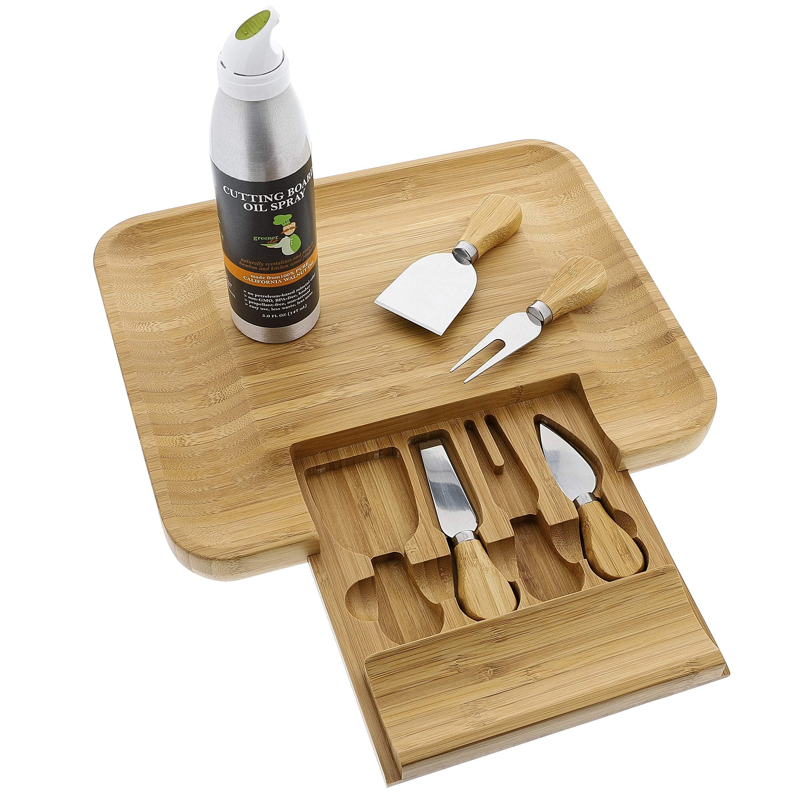 Beautiful bamboo cheese board knife set for mom mother